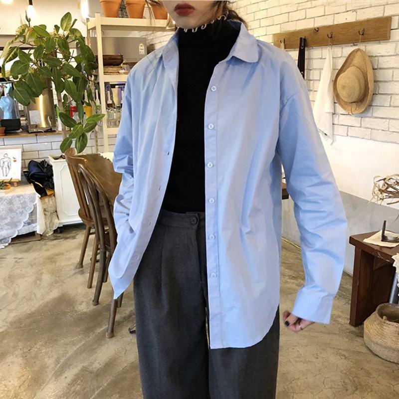 百思朵天蓝色衬衫女淡蓝色上衣纯棉长袖衬衣宽松纯色防晒衣外套潮