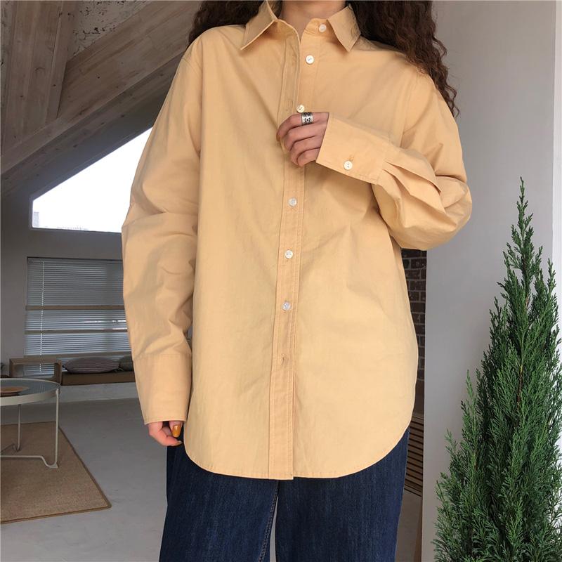 春季奶黄色复古港味宽松休闲衬衫怎么样