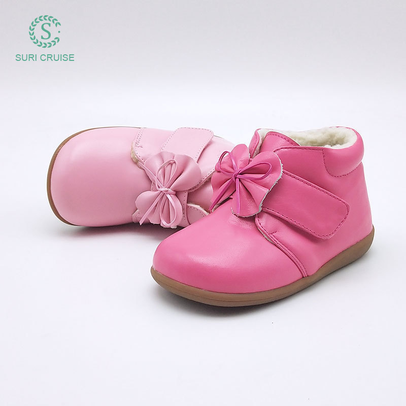 Suri cruise girls cotton boots 2018 winter new princess shoes Plush childrens boots leather childrens shoes
