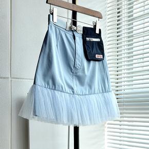 蒂卓雅时尚赫本风半身裙女2020夏季新款网纱拼接显瘦洋气a字裙子