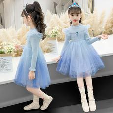 女童秋冬款针织毛衣渐变色艾莎公主连衣裙加绒新款时尚洋气长袖裙
