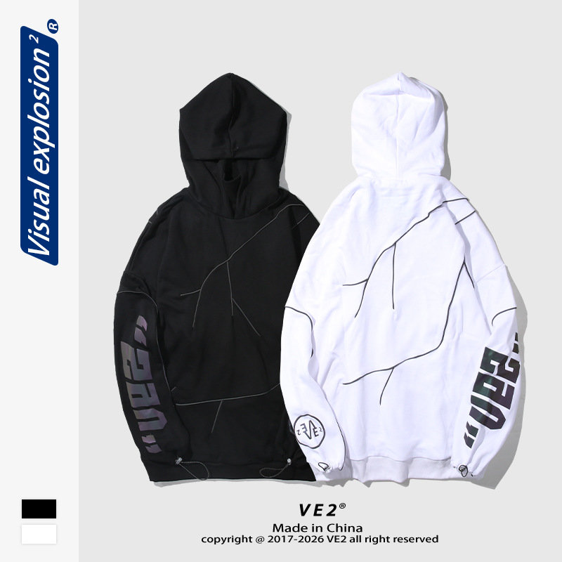 Ve2 autumn new ins reflective printed sweater mens oversize patchwork high collar Hoodie