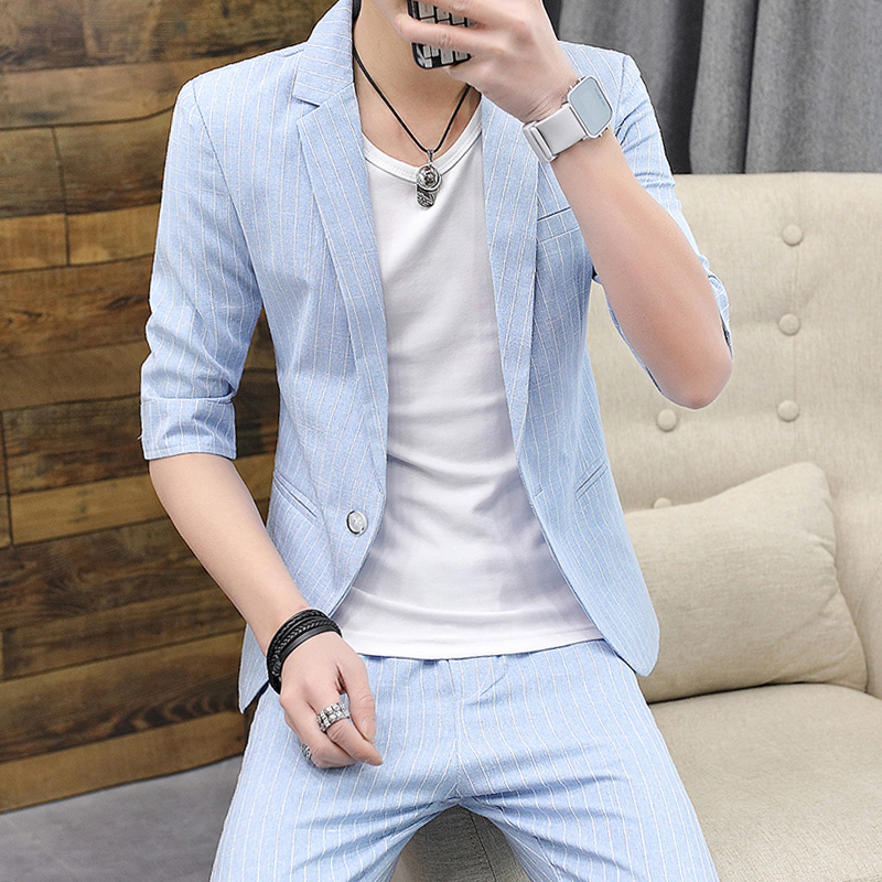 Summer medium sleeve small suit mens slim fit Korean version fashionable and handsome suit suit suit mens casual thin seven point sleeve coat
