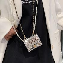 网红爆款超迷你漆皮小包包女2021新款菱格珍珠链条斜挎配饰零钱包