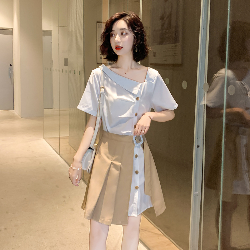 Dress women 2020 summer new fashion temperament slant collar European and American style long shirt two piece suit skirt