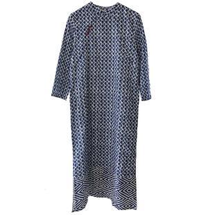 國風旗袍式改良版青瓷藍印花連衣裙中長款兩側開叉民國年輕款少女