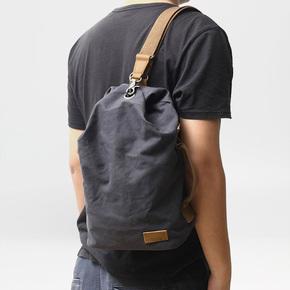 潮包简约日系文艺帆布胸包男时尚休闲斜跨水桶包户外单肩男士背包