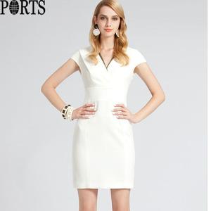 ports宝姿专柜正品代购V领落肩袖领口撞色线条连衣裙