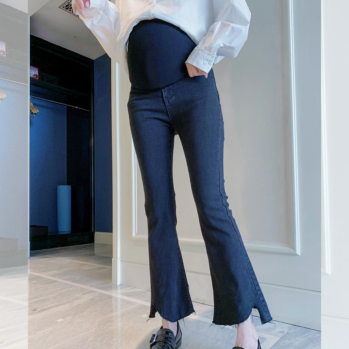 满152.00元可用22.8元优惠券孕妇托腹裤秋季装2019新款牛仔裤