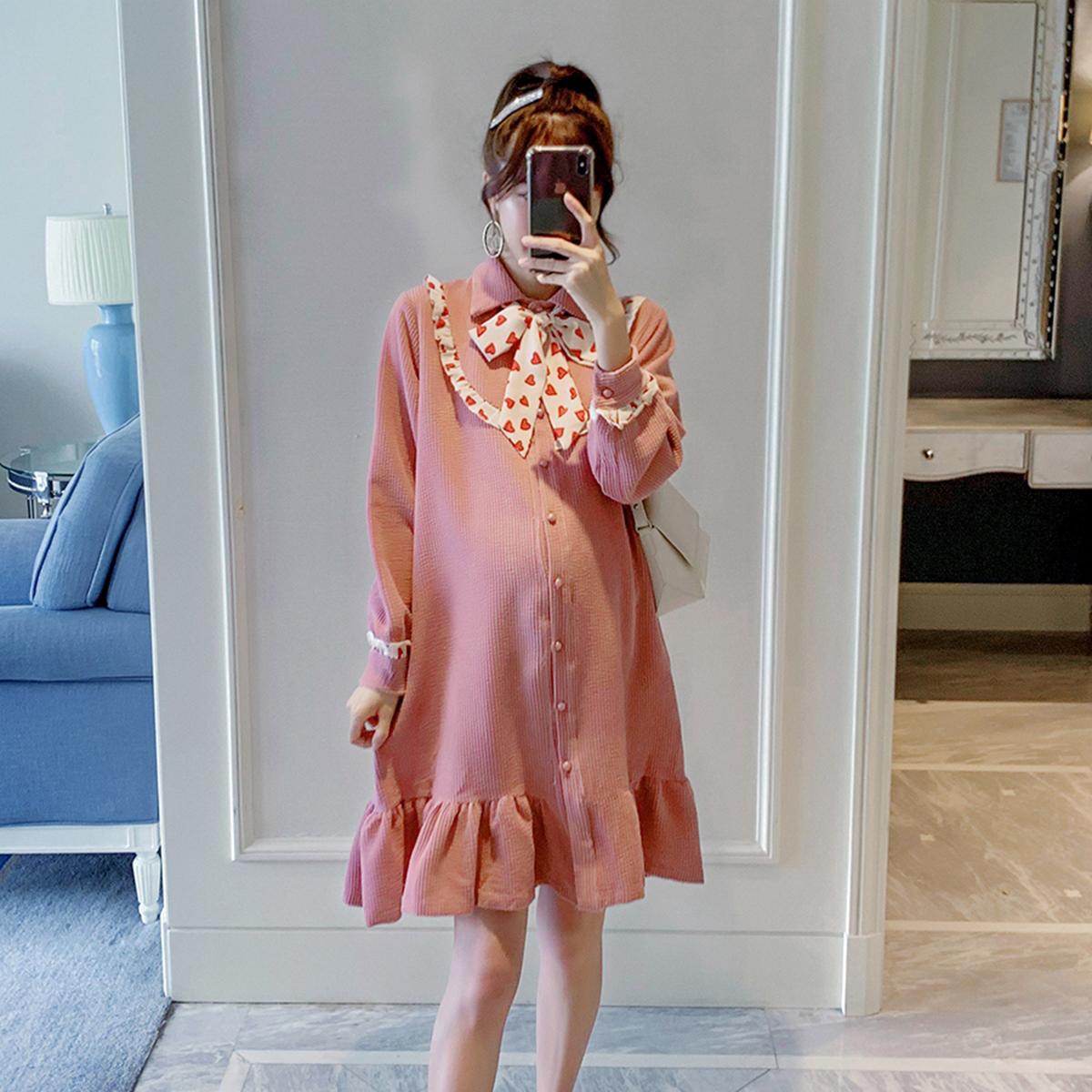 孕妇装秋装连衣裙新款时尚宽松韩版潮妈个性中长款仙女超仙鱼尾裙