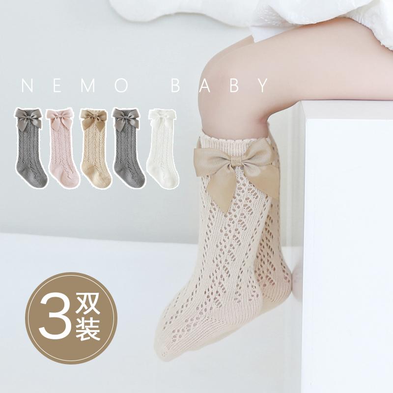 婴儿袜子夏季薄款纯棉女童网眼中长筒透气新生幼儿宝宝公主高筒袜