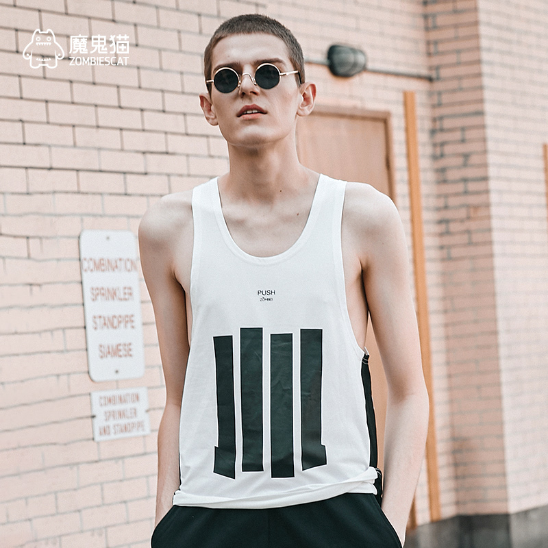 Devil cat IP summer tide brand cotton vest mens and womens fashion personality hip hop sports loose jacket couple sleeveless