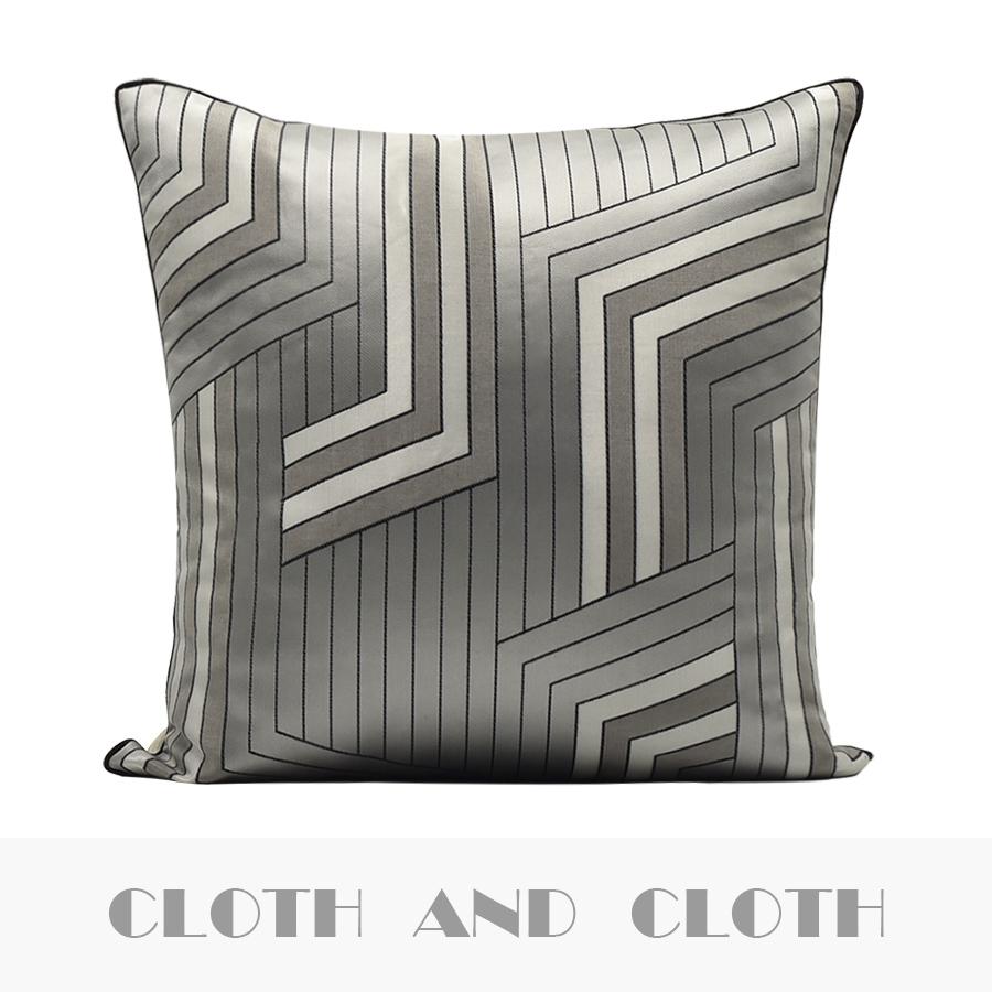 布和布原创设计新中式样板房客厅沙发抱枕靠垫银灰色靠枕靠包枕套