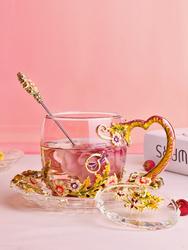 珐琅彩水杯茶杯家用花茶杯水晶咖啡杯 玻璃杯定制女水杯