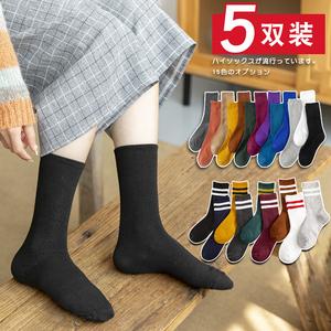 黑色袜子女中筒袜加厚堆堆袜女纯色长筒袜女ins潮街头秋冬季加绒