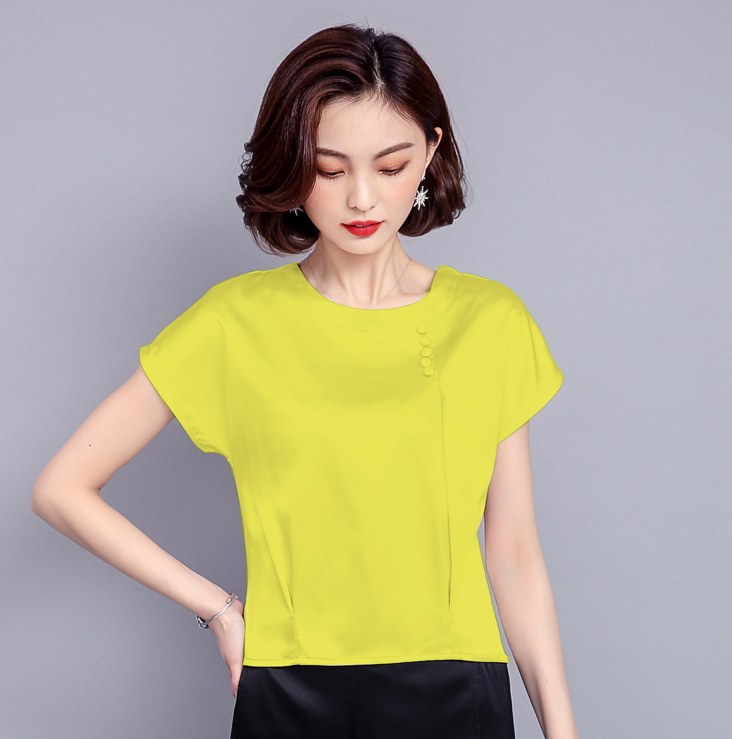 Spring and summer baby collar Hangzhou silk shirt womens long sleeve fashion small shirt silkworm silk foreign style short sleeve top