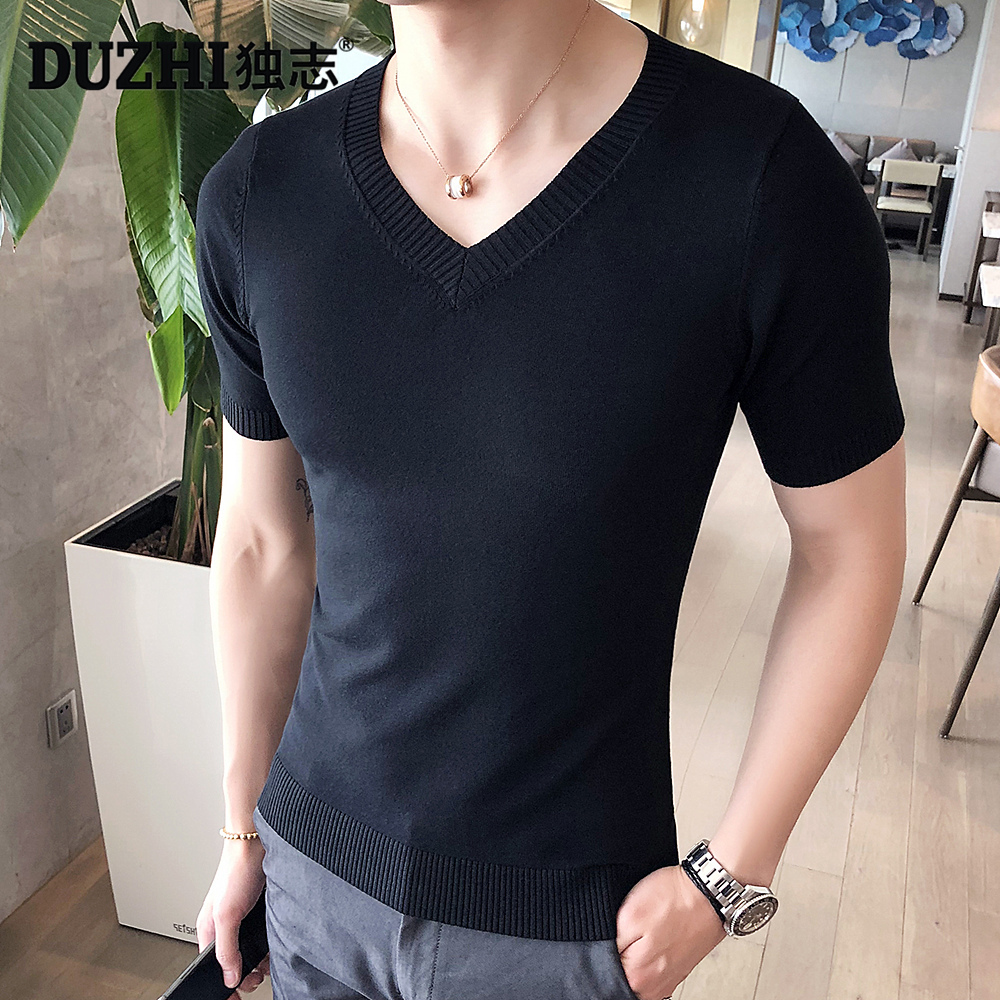 (用99元券)独志男装冰丝针织衫短袖t恤V领纯色薄款体恤韩版修身打底衫毛线衣