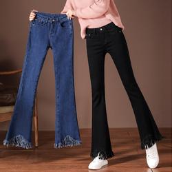 黑色小喇叭裤女高腰秋冬季2020加绒弹力显瘦垂感流苏微喇牛仔裤子