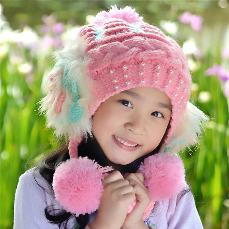 子供の帽子秋冬の女の子の耳保護の保温ニット帽韓国版の女性の赤ちゃんの毛の帽子