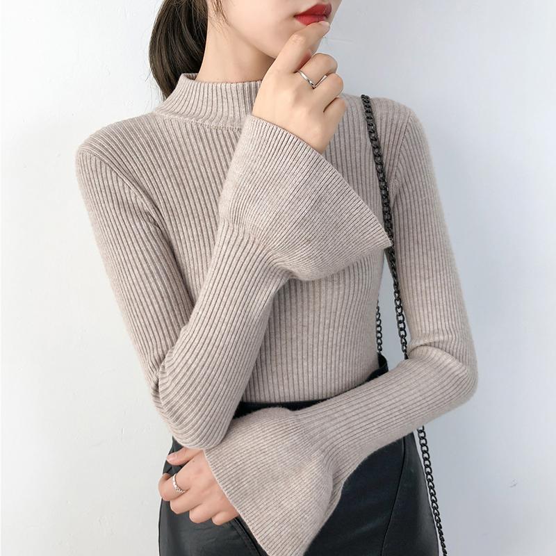 半高领毛衣女韩版打底衫冬新款加绒厚长袖修身百搭套头上衣针织衫