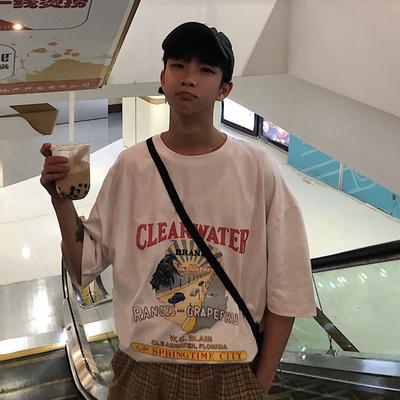2019夏季圆领宽松落肩短袖T恤 H52-P40