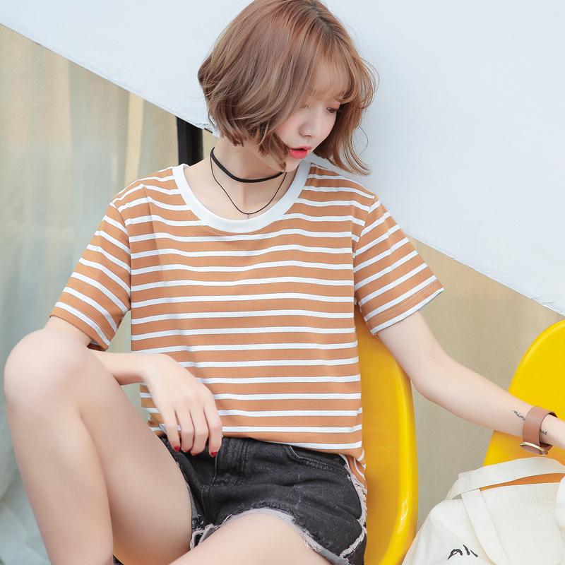 2018新款夏装纯棉条纹t恤女短袖韩范学生宽松韩版ulzzang百搭上衣