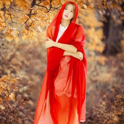 纯色丝巾女百搭春秋围巾女薄超大红色纱巾中年妈妈长款防晒沙滩巾