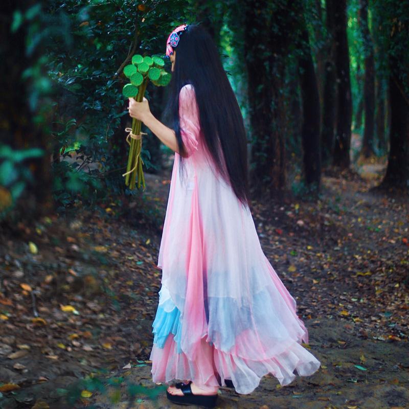 花制作/风韵/新款原创设计女装品牌百搭防晒衣修身中长款真丝外披