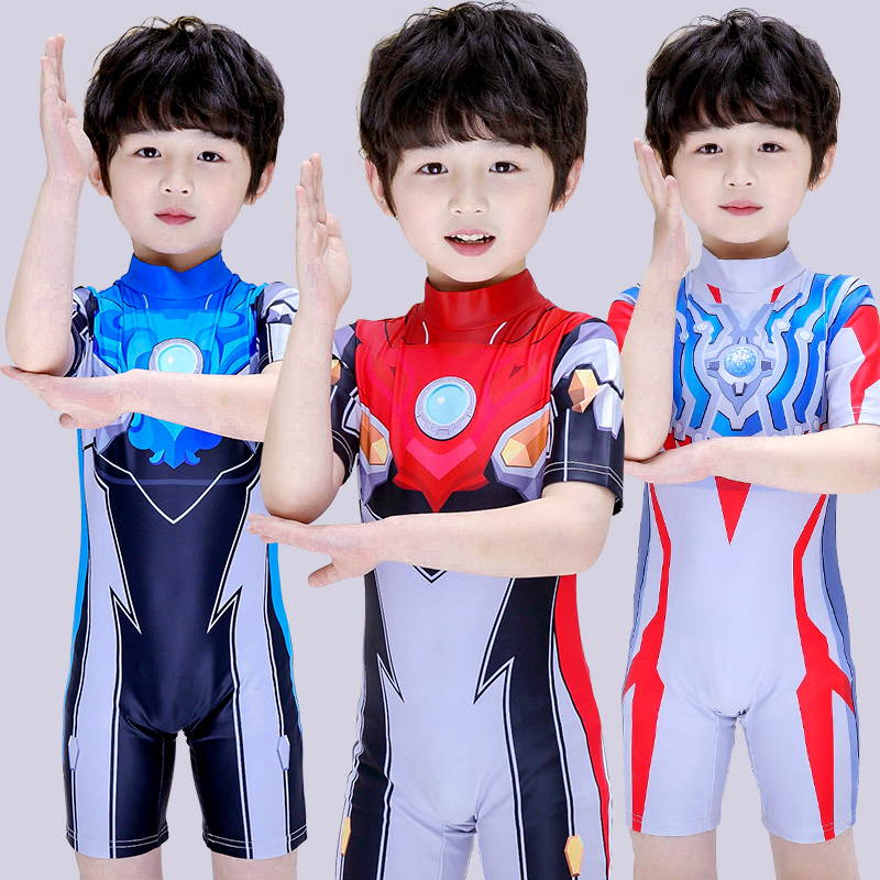 Children's swimsuits, boys' one-piece Ultraman clothes, boys' swimsuits, quick-drying sunscreen kids, Superman Spiderman