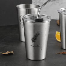 304 stainless steel water cup with cover ins wind portable straw cup adult simple creative men's and women's personalized cup