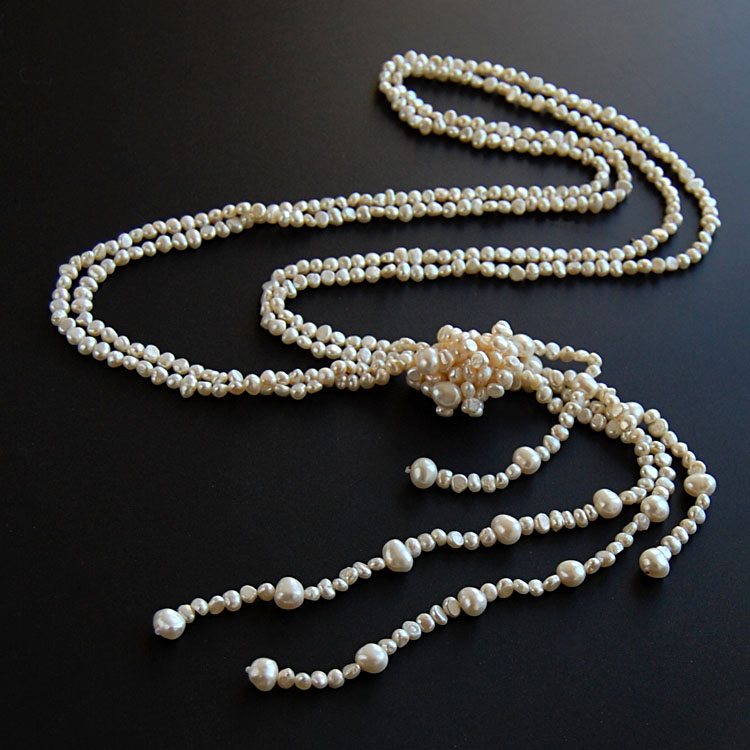 Double natural pearl necklaces sweater chain long versatile atmosphere high grade multi-layer tassel accessories genuine womens Pendant Chain