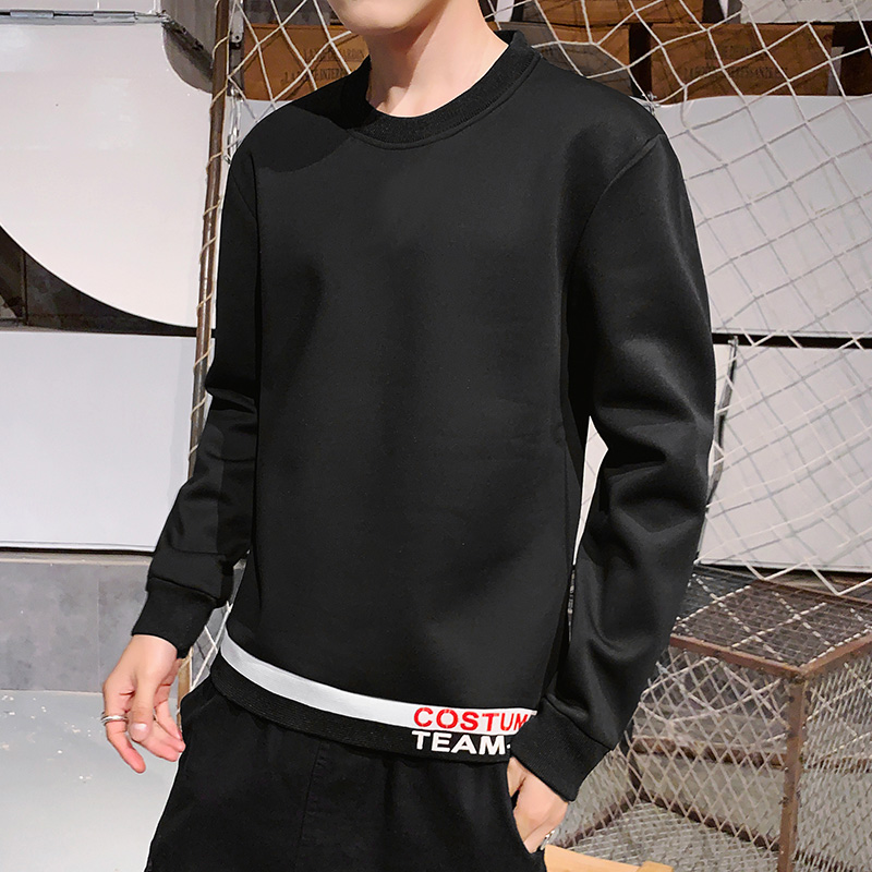 Mens long sleeve t-shirt mens autumn color matching loose sweater student youth round neck simple top bottom coat mens