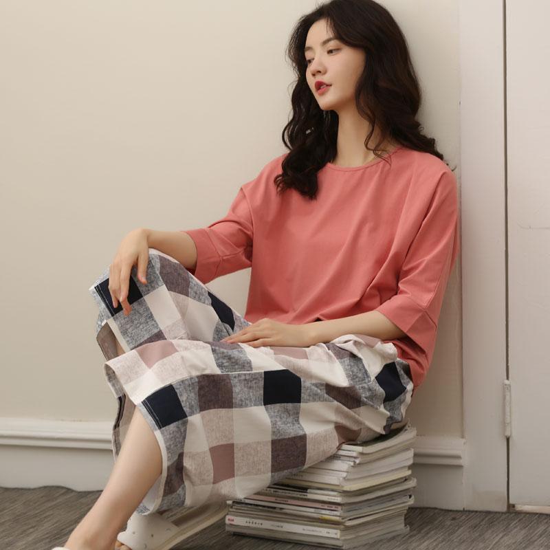 女士纯棉半袖七分裤纯色格子睡衣限9999张券