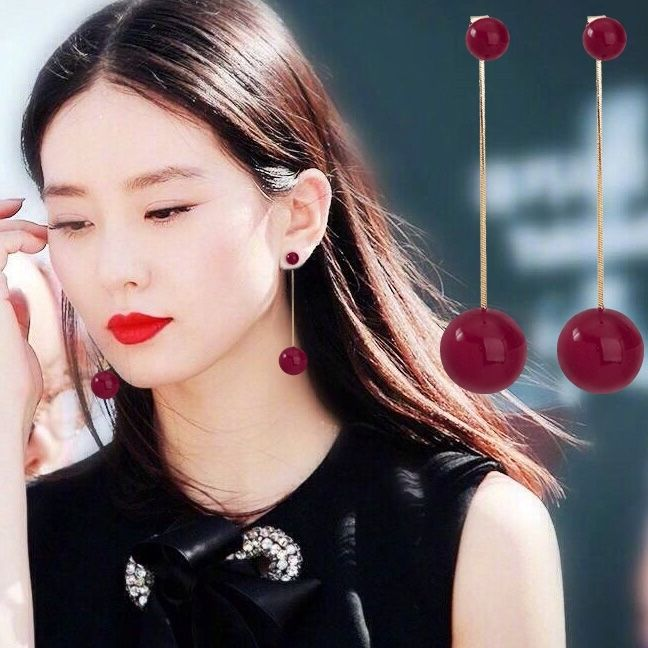 Net red pearl earrings Korean temperament long simple versatile red beads Tassel Earrings needle anti allergy Earrings female