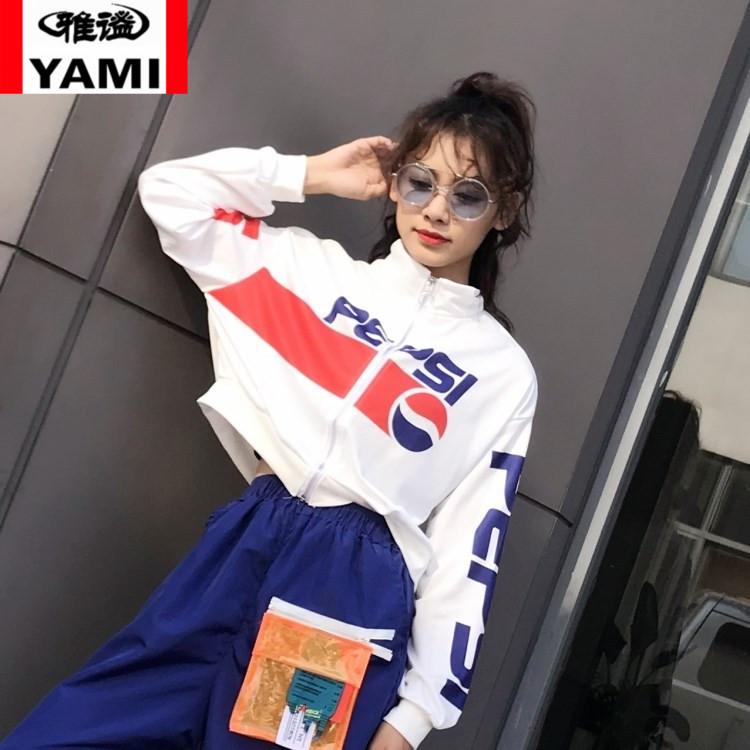 雅谧百事可乐印花短款卫衣女装小高领薄款拉链短外套开衫8029