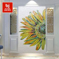 现代简约冰玉马赛克拼图剪画玄关过道餐厅艺术背景墙向日葵拼花