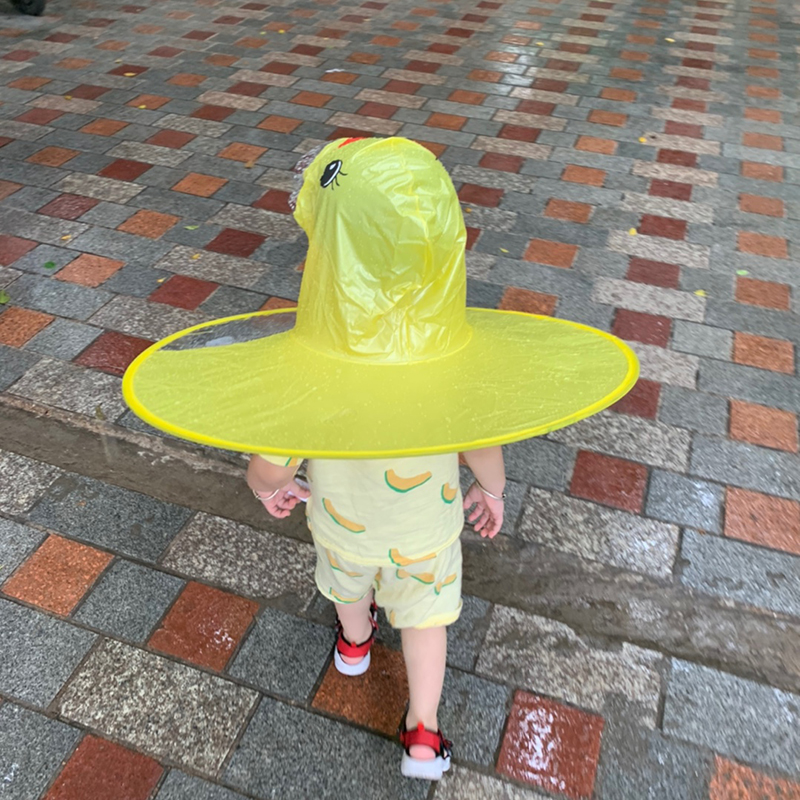 Childrens flying saucer raincoat, yellow duck, cloak umbrella cap, kindergarten boy, girl, tiktok baby raincoat, jitter.
