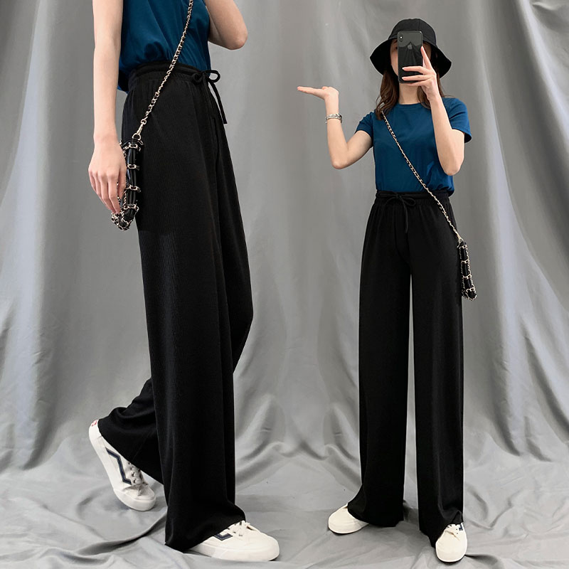 Ice silk wide leg pants womens trousers high waist drop feeling summer thin straight tube loose and thin