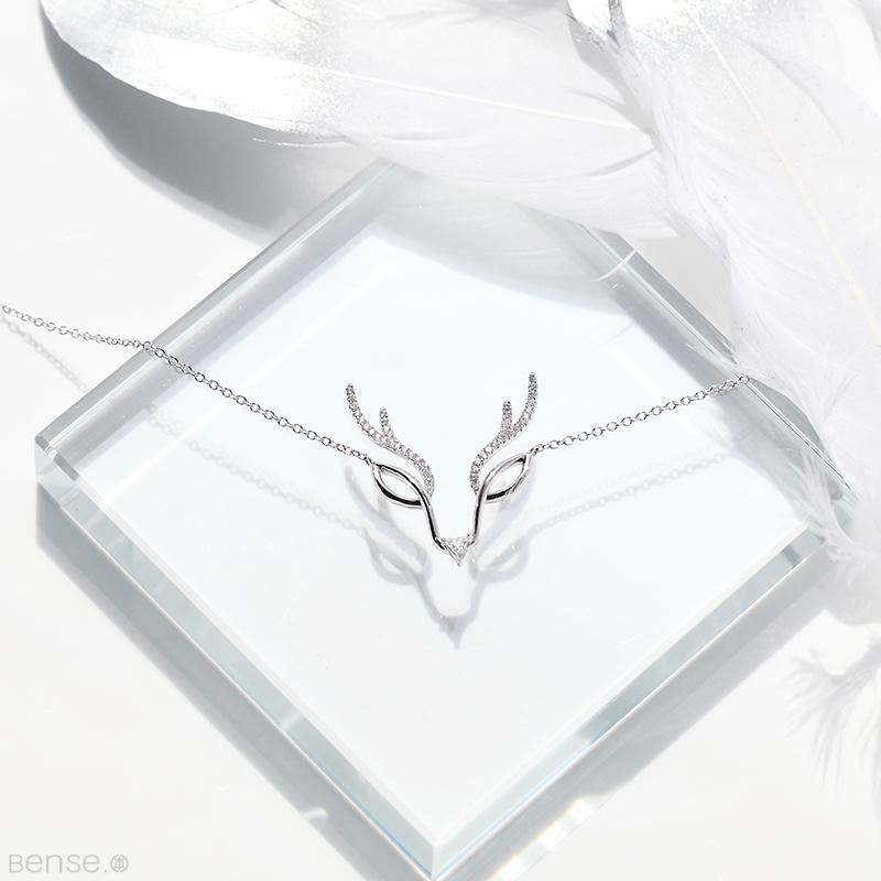 本色BENSE原创银饰设计鹿 鹿角项链 手工925纯银锆石女锁骨链气质