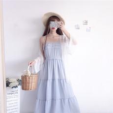 夏季女装学生少女小清新甜美拼接荷叶边收腰吊带连衣裙中长仙女裙