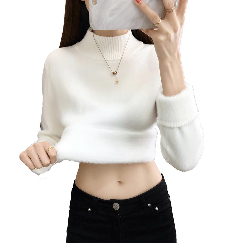 新款2020爆款保暖衣女加厚加绒一体绒毛衣冬季高领打底衫外穿上衣