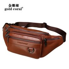 Recreational leather waistband cashier top cowhide waistband men's chest sports bag men's bag mobile phone multi-functional bag