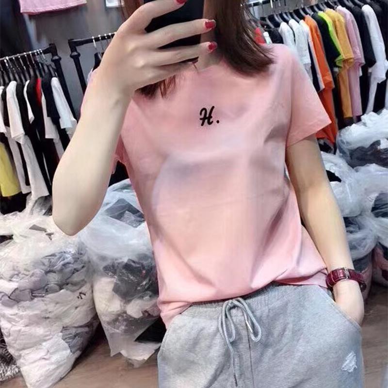 丝光棉t恤女短袖2020早春新款韩版宽松简约印花白色半袖上衣夏装