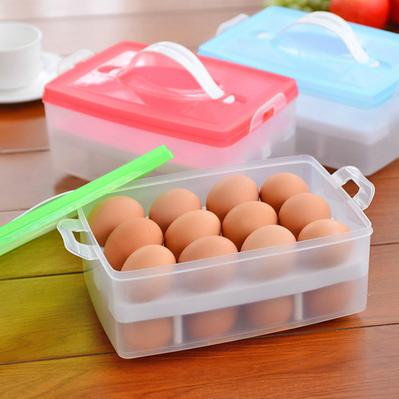 24格大容量双层鸡蛋保鲜盒 便携手提式鸡蛋收纳盒储藏盒 塑料蛋盒