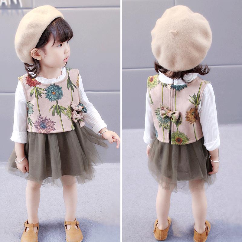 Каждый день специальное предложение девочки весна новый платье установите 1-2-3 лет девушка корейский ребятишки юбка ребенок