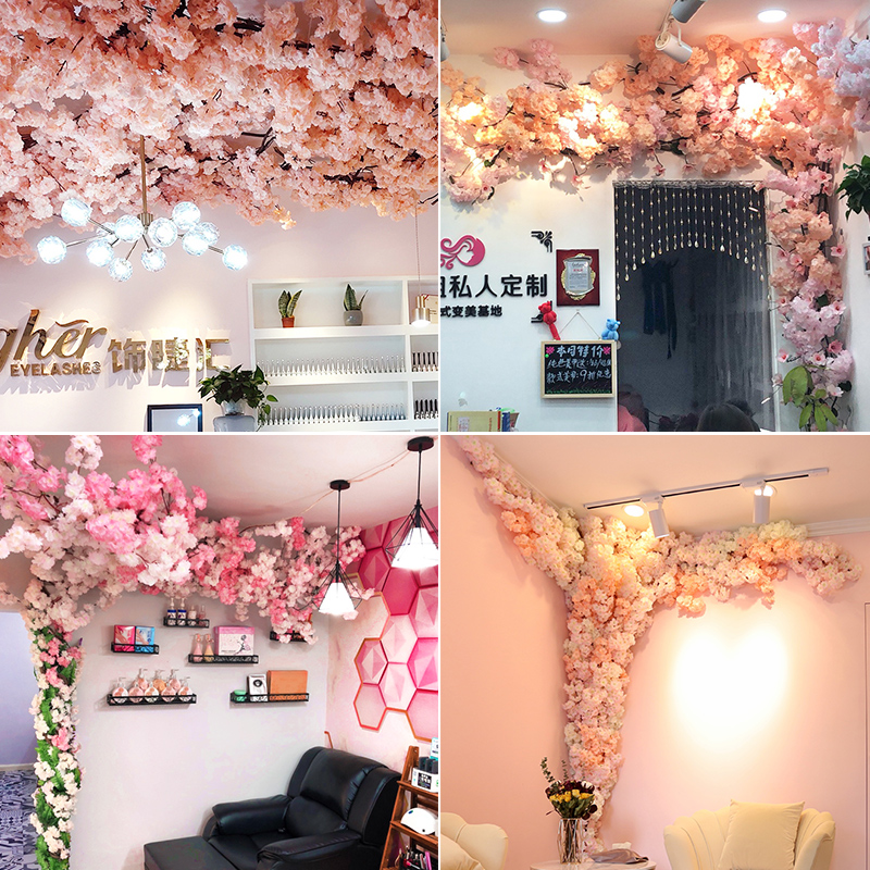 Simulation cherry tree branch net red indoor ceiling air conditioning pipe railing plastic false flower rattan decorative cover winding