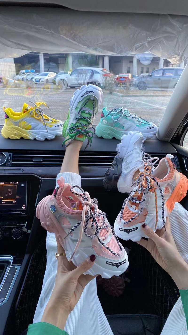 夏季彩色网面真皮运动女鞋