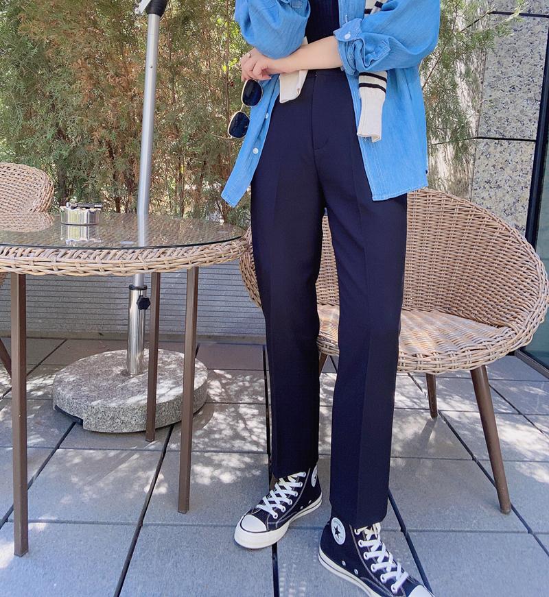 KOGIRL 推荐JU显瘦西装裤2020秋季韩代休闲高腰黑色垂感九分裤女