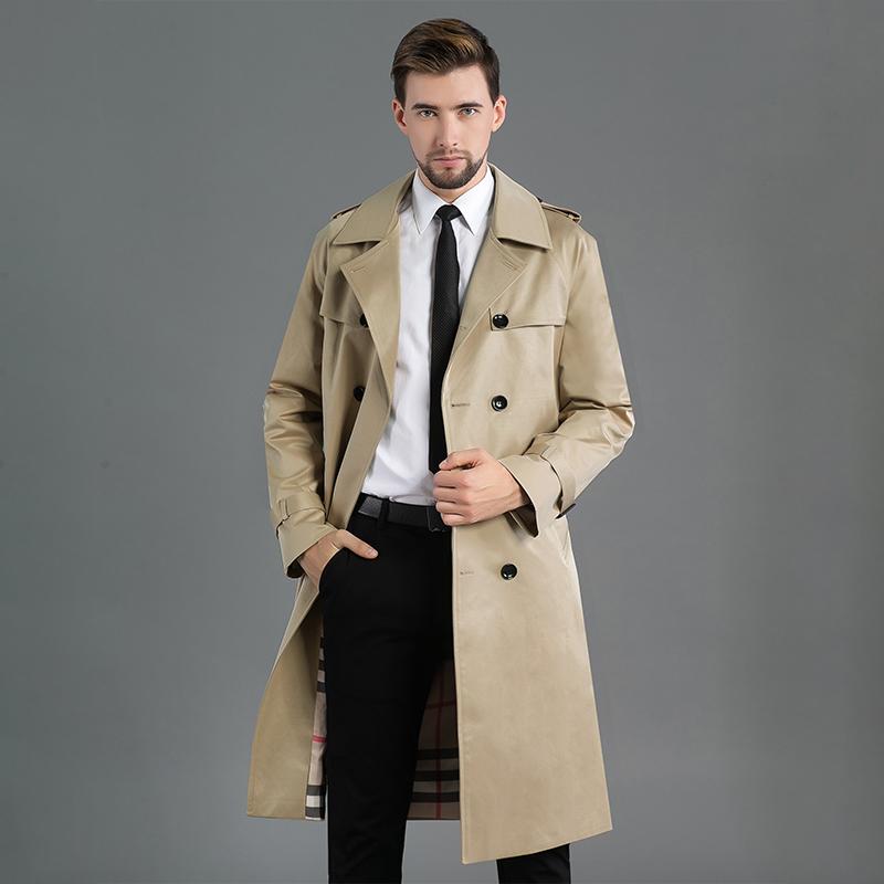 Mens Khaki over knee raglan sleeve windbreaker 2021 spring and autumn new slim double breasted long coat