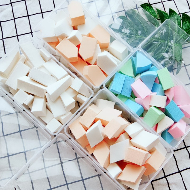 Disposable triangle square circular air cushion beauty tool, dry and wet latex sponge egg puff, 40 pieces in a delivery box